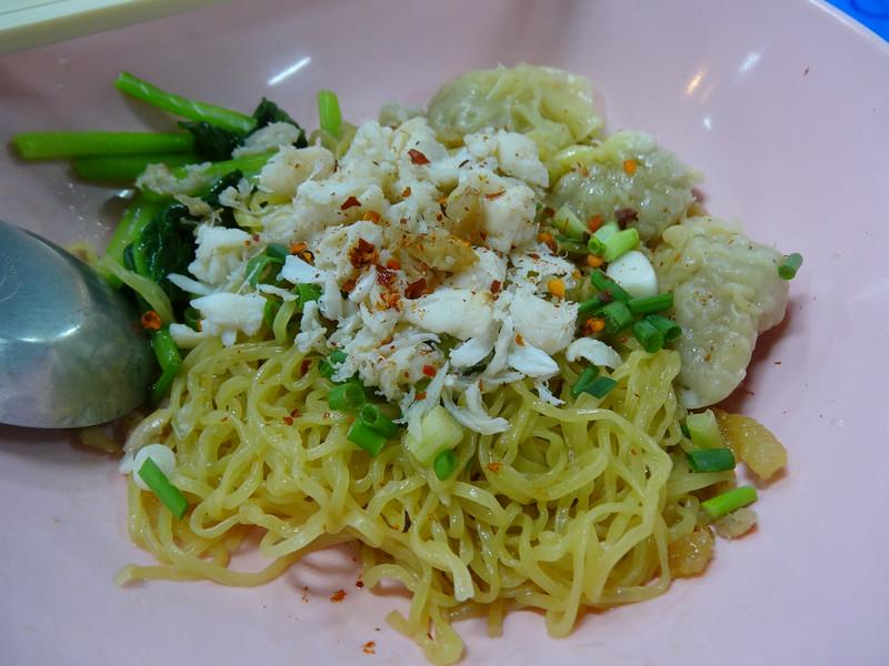 Crab meat and prawn wonton dry noodles