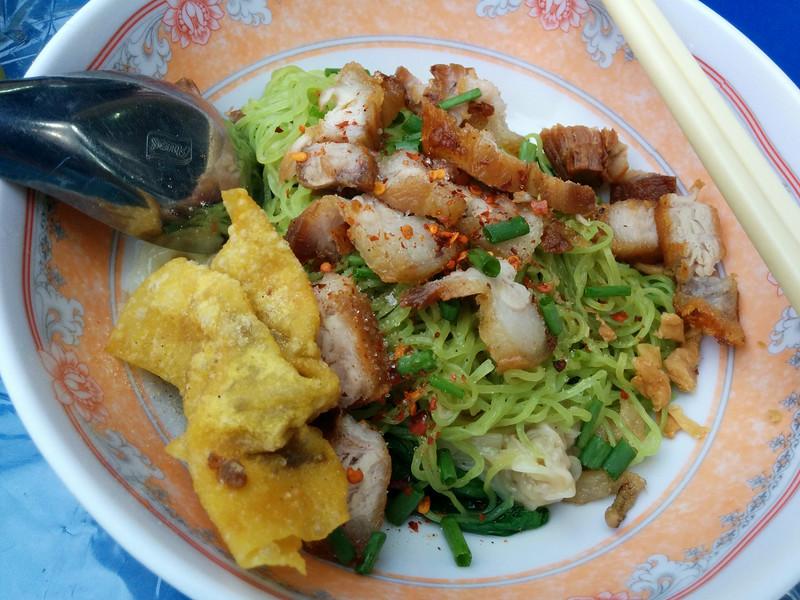 Roast pork green noodles